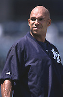 David Justice of the New York Yankees during a 2001 season MLB game at Angel Stadium in Anaheim, California. (Larry Goren/Four Seam Images)
