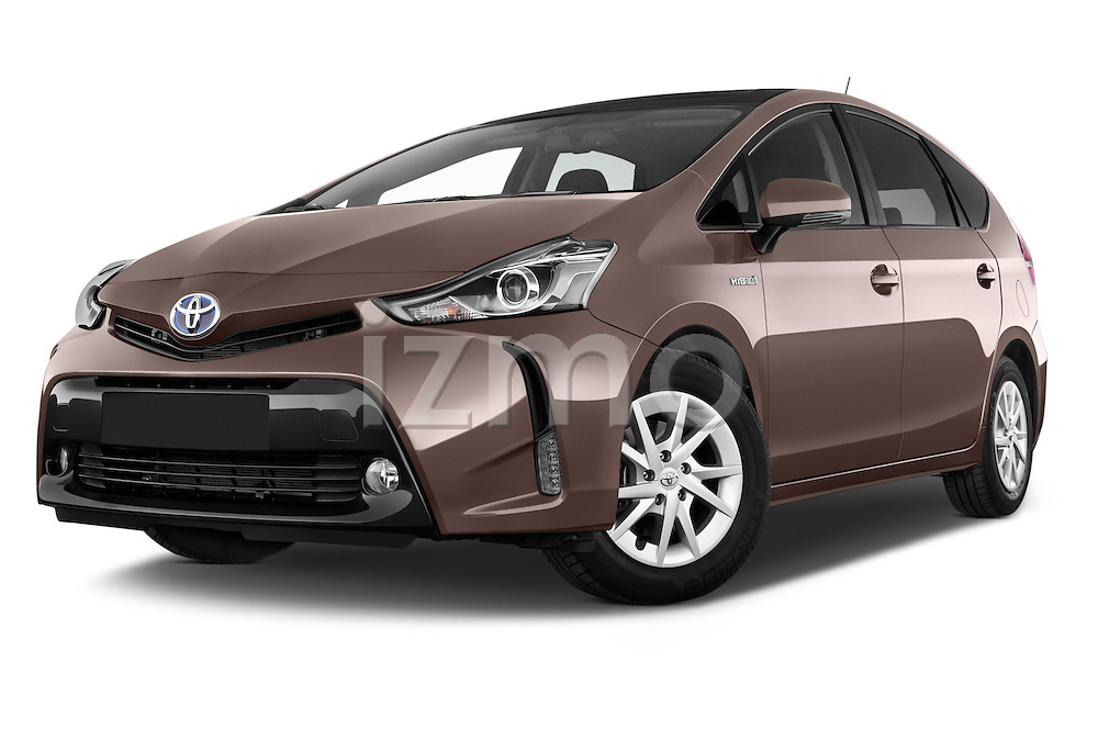 Stock pictures of low aggressive front three quarter view of a 2015 Toyota Grand Prius+ 5 Door Mini Van