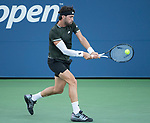 August 30,2019:   Nikoloz Basilashvili (GEO) loses to Dominik Koepfer (GER) 6-3, 7-6, 4-6, 6-1, at the US Open being played at Billie Jean King National Tennis Center in Flushing, Queens, NY.  ©Jo Becktold/CSM