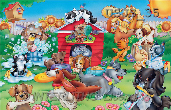 Janet, CUTE ANIMALS, puzzle, paintings, Animal Care 1(USJS35,#AC#) illustrations, pinturas, rompe cabeza