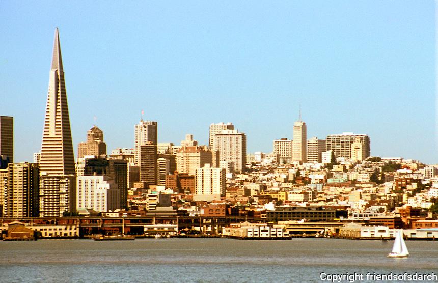 San Francisco:  San Francisco Bay from Yerba Buena. Transamerica Pyramid.  Photo '89.