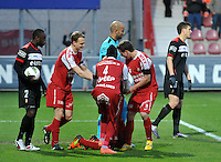 KV Kortrijk - Standard :.vreugde bij Kv Kortrijk na de 1-0 van Ernest Nfor.foto VDB / BART VANDENBROUCKE