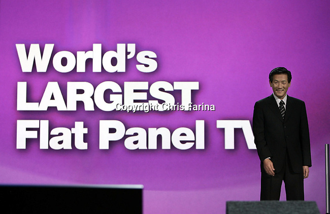 1/7/08,Las Vegas,Nevada  ---  Toshihiro Sakamoto, president of Panasonic AVC Networks unveils a 150-Inch Plasma display, the world's largest flat panel television during his keynote address for the 2008 International Consumer Electronics Show (CES) at the Venetian Resort in Las Vegas.  --- Chris Farina