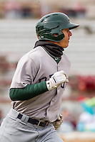 Beloit Snappers outfielder Steven Pallares (14) during a Midwest League game against the Wisconsin Timber Rattlers on April 10th, 2016 at Fox Cities Stadium in Appleton, Wisconsin.  Wisconsin defeated Beloit  4-2. (Brad Krause/Four Seam Images)