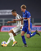 Calcio, Serie A: Juventus - Sampdoria, Turin, Allianz Stadium, September 20, 2020.<br /> Juventus' Cristiano Ronaldo (l) in action with Sampdoria's Morten Thorsby (r) during the Italian Serie A football match between Juventus and Sampdoria at the Allianz stadium in Turin, September 20,, 2020.<br /> UPDATE IMAGES PRESS/Isabella Bonotto