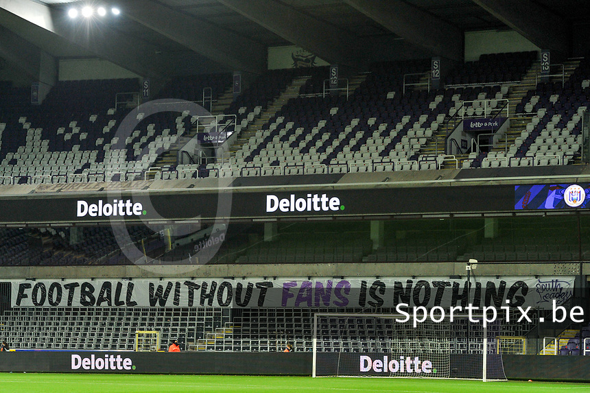 Football without fans is nothing pictured during a female soccer game between RSC Anderlecht Dames and Northern Irish Linfield Ladies  in the first qualifying round for the Uefa Womens Champions League of the 2020 - 2021 season , Wednesday 4 th of November 2020  in ANDERLECHT , Belgium . PHOTO SPORTPIX.BE | SPP | STIJN AUDOOREN