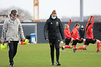 Assistant coach Kris Van Der Haegen and coach Heleen Jacques  pictured during the training session of the Belgian Women's National Team ahead of a friendly female soccer game between the national teams of Germany and Belgium , called the Red Flames in a pre - bid tournament called Three Nations One Goal with the national teams from Belgium , The Netherlands and Germany towards a bid for the hosting of the 2027 FIFA Women's World Cup ,on 19th of February 2021 at Proximus Basecamp. PHOTO: SEVIL OKTEM | SPORTPIX.BE