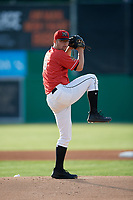 Batavia Muckdogs pitcher Andrew Miller (8) during a NY-Penn League game against the Auburn Doubledays on June 19, 2019 at Dwyer Stadium in Batavia, New York.  Auburn defeated Batavia 5-0 in the second game of a doubleheader.  (Mike Janes/Four Seam Images)