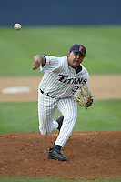 Chad Cordero of the Cal State Fullerton Titans pitches during a game at Goodwin Field on June 6, 2003 in Fullerton, California. (Larry Goren/Four Seam Images)