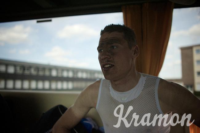Kevin Van Melsen (BEL/Wanty-Groupe Gobert) on the teambus post-race<br /> <br /> 113th Paris-Roubaix 2015