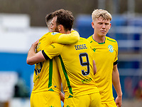 18th April 2021; Stair Park, Stranraer, Dumfries, Scotland; Scottish Cup Football, Stranraer versus Hibernian; Christian Doidge of Hibernian celebrates after scoring the opening goal in the 37th minute with Kevin Nisbet of Hibernian and Josh Doig of Hibernian