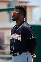 Jupiter Hammerheads Isael Soto (15) during the national anthem before a Florida State League game against the Dunedin Blue Jays on May 16, 2019 at Jack Russell Memorial Stadium in Clearwater, Florida.  Dunedin defeated Jupiter 1-0.  (Mike Janes/Four Seam Images)