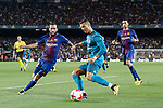 Cristiano Ronaldo of Real Madrid (R) fights for the ball with Aleix Vidal of FC Barcelona (L) during the Supercopa de Espana Final 1st Leg match between FC Barcelona and Real Madrid at Camp Nou on August 13, 2017 in Barcelona, Spain. Photo by Marcio Rodrigo Machado / Power Sport Images