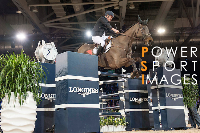 Roger-Yves Bost of France riding Tesway de la Batia during the Hong Kong Jockey Club Trophy competition, part of the Longines Masters of Hong Kong on 10 February 2017 at the Asia World Expo in Hong Kong, China. Photo by Marcio Rodrigo Machado / Power Sport Images