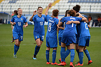 20190227 - LARNACA , CYPRUS : Italian players pictured celerating their first goal of the tournament during a women's soccer game between Mexico and Italy , on Wednesday 27 February 2019 at the Antonis Papadopoulos Stadium in Larnaca , Cyprus . This is the first game in group B for both teams during the Cyprus Womens Cup 2019 , a prestigious women soccer tournament as a preparation on the FIFA Women's World Cup 2019 in France and the Uefa Women's Euro 2021 qualification duels. PHOTO SPORTPIX.BE | STIJN AUDOOREN