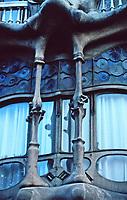 Window details of Casa Batllo, designed by Antoni Gaudi. Intricate metalwork and unusual oval windows. Art Nouveau