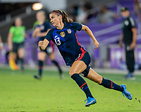 ORLANDO, FL - FEBRUARY 24: Alex Morgan #13 of the USWNT sprints during a game between Argentina and USWNT at Exploria Stadium on February 24, 2021 in Orlando, Florida.