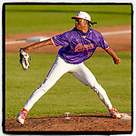 Starting pitcher Keyshawn Askew (19) of the Clemson Tigers delivers a pitch in Game 1 of the Orange-Purple intrasquad scrimmage series on Friday, November 20, 2020, at Doug Kingsmore Stadium in Clemson, South Carolina. Orange won, 9-2. (Tom Priddy/Four Seam Images)