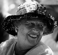 22March2008: Ocean Beach, California, USA. Cordielia Ridenour enjoys a laugh with a friend during the Ocean Beach Historical Society annual Wisteria Tea Party.