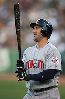 OAKLAND, CA - AUGUST 30:  Nick Punto of the Minnesota Twins bats during the game against the Oakland Athletics at the McAfee Coliseum in Oakland, California on August 30, 2008.  The Athletics defeated the Twins 3-2.  Photo by Brad Mangin