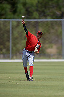Washington Nationals Blake Perkins (27) throws from the outfield during practice before a minor league Spring Training game against the St. Louis Cardinals on March 27, 2017 at the Roger Dean Stadium Complex in Jupiter, Florida.  (Mike Janes/Four Seam Images)