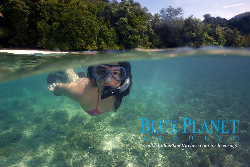 Snorkeller, Rock Islands, Palau, Micronesia
