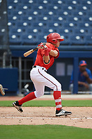 GCL Nationals left fielder Ricardo Mendez (16) at bat during the second game of a doubleheader against the GCL Mets on July 22, 2017 at The Ballpark of the Palm Beaches in Palm Beach, Florida.  GCL Mets defeated the GCL Nationals 4-1.  (Mike Janes/Four Seam Images)