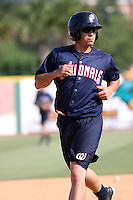 Potomac Nationals infielder Jose Lozada #2 working on base running during batting practice before a game vs. the Myrtle Beach Pelicans at BB&T Coastal Field in Myrtle Beach, SC, on June 16, 2010. The Nationals defeated the Pelicans 13-4. Photo By Robert Gurganus/Four Seam Images