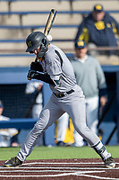 Western Michigan Broncos outfielder Blake Dunn (1) is hit by a pitch in the helmet against the Michigan Wolverines on March 18, 2019 in the NCAA baseball game at Ray Fisher Stadium in Ann Arbor, Michigan. Dunn was not injured and stayed in the game. Michigan defeated Western Michigan 12-5. (Andrew Woolley/Four Seam Images)