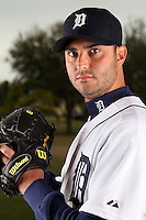 February 27, 2010:  Pitcher Armando Galarraga (58) of the Detroit Tigers poses for a photo during media day at Joker Marchant Stadium in Lakeland, FL.  Photo By Mike Janes/Four Seam Images