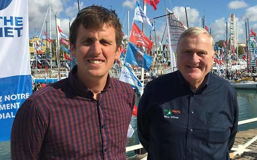 Tom Dolan and Irish Sailing President Jack Roy in La Rochelle in September 2017 before the start of the Mini Transat