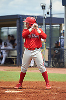 GCL Phillies East Cesar Rodriguez (12) bats during a Gulf Coast League game against the GCL Yankees East on July 31, 2019 at Yankees Minor League Complex in Tampa, Florida.  GCL Phillies East defeated the GCL Yankees East 4-3 in the second game of a doubleheader.  (Mike Janes/Four Seam Images)