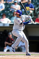 Buffalo Bisons second baseman Ryan Goins (10) at bat during the first game of a doubleheader against the Rochester Red Wings on July 6, 2014 at Frontier Field in Rochester, New  York.  Rochester defeated Buffalo 6-1.  (Mike Janes/Four Seam Images)
