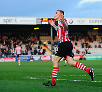 Lincoln City's Harry Anderson celebrates scoring his side's second goal<br /> <br /> Photographer Chris Vaughan/CameraSport<br /> <br /> The EFL Sky Bet League Two - Lincoln City v Newport County - Saturday 22nd December 201 - Sincil Bank - Lincoln<br /> <br /> World Copyright © 2018 CameraSport. All rights reserved. 43 Linden Ave. Countesthorpe. Leicester. England. LE8 5PG - Tel: +44 (0) 116 277 4147 - admin@camerasport.com - www.camerasport.com