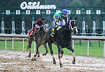 HOT SPRINGS, AR - January 16: Jockey Channing Hill, riding Uncontested #6, wins the Smarty Jones Stakes at Oaklawn Park on January 16, 2017 in Hot Springs, AR. (Photo by Ciara Bowen/Eclipse Sportswire/Getty Images)