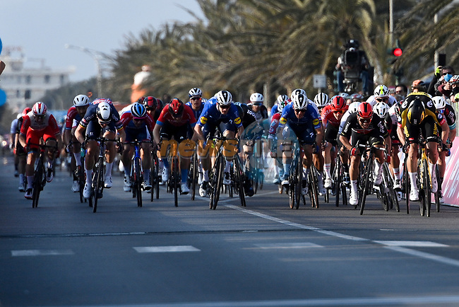 Wout Van Aert (BEL) Team Jumbo-Visma outsprints the bunch to win Stage 1 of Tirreno-Adriatico Eolo 2021, running 156km from Lido di Camaiore to Lido di Camaiore, Italy. 10th March 2021.<br /> Photo: LaPresse/Marco Alpozzi | Cyclefile<br /> <br /> All photos usage must carry mandatory copyright credit (© Cyclefile | LaPresse/Marco Alpozzi)