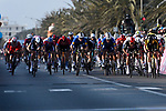 Wout Van Aert (BEL) Team Jumbo-Visma outsprints the bunch to win Stage 1 of Tirreno-Adriatico Eolo 2021, running 156km from Lido di Camaiore to Lido di Camaiore, Italy. 10th March 2021.<br /> Photo: LaPresse/Marco Alpozzi   Cyclefile<br /> <br /> All photos usage must carry mandatory copyright credit (© Cyclefile   LaPresse/Marco Alpozzi)