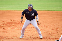 New York Yankees Jasson Dominguez (25) leads off first base during an Extended Spring Training game against the Detroit Tigers on June 19, 2021 at the Joker Marchant Stadium in Lakeland, Florida.  (Mike Janes/Four Seam Images)