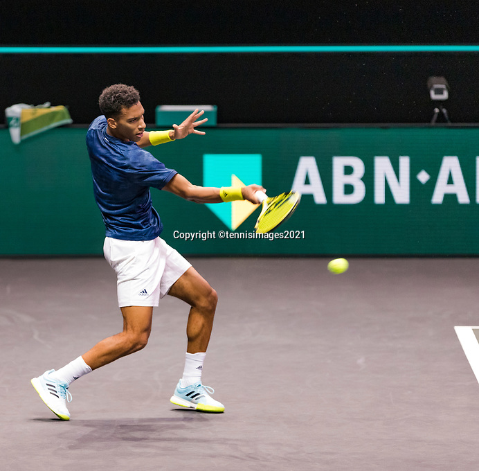 Rotterdam, The Netherlands, 28 Februari 2021, ABNAMRO World Tennis Tournament, Ahoy, First round doubles: Felix Auger-Aliassime (CAN).<br /> Photo: www.tennisimages.com/henkkoster
