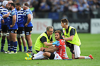 Danny Cipriani of Gloucester Rugby is treated for a possible head injury on the pitch during the Gallagher Premiership Rugby match between Bath Rugby and Gloucester Rugby at The Recreation Ground on Saturday 8th September 2018 (Photo by Rob Munro/Stewart Communications)