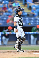 Asheville Tourists catcher Austin Bernard (2) during a game against the Greensboro Grasshoppers at McCormick Field on May 10, 2018 in Asheville, North Carolina. The Tourists defeated the Grasshoppers 14-10. (Tony Farlow/Four Seam Images)