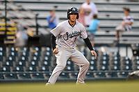 Jupiter Hammerheads catcher Austin Barnes (9) leads off third during a game against the Bradenton Marauders on April 17, 2014 at McKechnie Field in Bradenton, Florida.  Bradenton defeated Jupiter 2-1.  (Mike Janes/Four Seam Images)