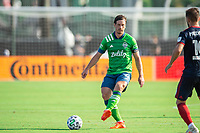 LAKE BUENA VISTA, FL - JULY 14: Gustav Svensson #4 of the Seattle Sounders kicks the ball during a game between Seattle Sounders FC and Chicago Fire at Wide World of Sports on July 14, 2020 in Lake Buena Vista, Florida.
