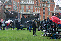 Media setup across the road from House of Parliament - BREXIT scenes in Westminster Houses of Parliament and surrounding area, London, England on 16 January 2019. Photo by Andy Rowland.