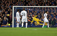 Liverpool, UK. Saturday 01 November 2014<br /> Pictured: Goalkeeper Lukasz Fabianski of Swansea watches on as the ball goes wide from an Everton shot.<br /> Re: Premier League Everton v Swansea City FC at Goodison Park, Liverpool, Merseyside, UK.