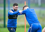 St Johnstone Training….09.08.19<br />Drey Wright and Jason Kerr pictured at McDiramid Park this morning ahead of tomorrow's game against Livingston..<br />Picture by Graeme Hart.<br />Copyright Perthshire Picture Agency<br />Tel: 01738 623350  Mobile: 07990 594431