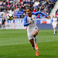 Harrison, NJ - Sunday March 04, 2018: Christen Press during a 2018 SheBelieves Cup match match between the women's national teams of the United States (USA) and France (FRA) at Red Bull Arena.