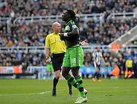 Bafetibis Gomis of Swansea City rues a missed chance on goal during the Barclays Premier League match between Newcastle United and Swansea City played at St. James' Park, Newcastle upon Tyne, on the 16th April 2016