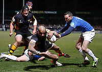 Photo: Richard Lane/Richard Lane Photography. London Wasps v Leinster Rugby. Amlin Challenge Cup Quarter Final. 05/04/2013. Wasps' Tom Varndell dives in for his second try.