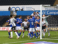 20th March 2021; Liberty Stadium, Swansea, Glamorgan, Wales; English Football League Championship Football, Swansea City versus Cardiff City; Dillon Phillips of Cardiff City punches the ball clear from a corner kick